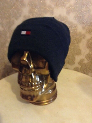 Tommy Hilfiger ® Beanie Hat Winter Cap Double Knit Flag Logo Turn Up Ribbed New