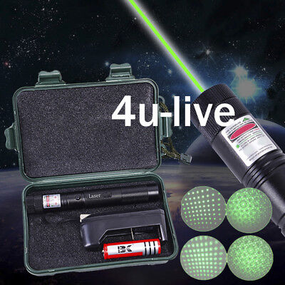 3 in 1 Green Laser Pen Pointer Boxed Adjustable Focus Charger 18650 Battery