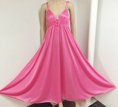 "Vintage Erica Loren Pink Sheer Nylon Long Flowing 160"" Full Sweep Nightgown L"