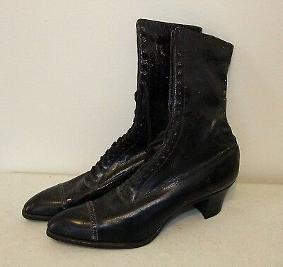 The Selby Shoe Co. VICTORIAN LACE-UP BOOTS, Heeled, Black Leather, size 6-1/2 AA
