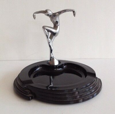 Vintage Art Deco Chrome Dancing Figure Nymph & Black Glass Ashtray Ash Tray