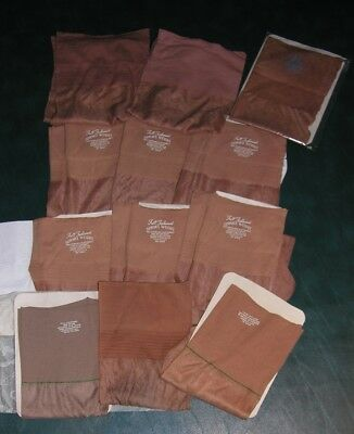 12 pair size 11 vintage OUTSIZE seamed nylon stockings assorted colors & brands