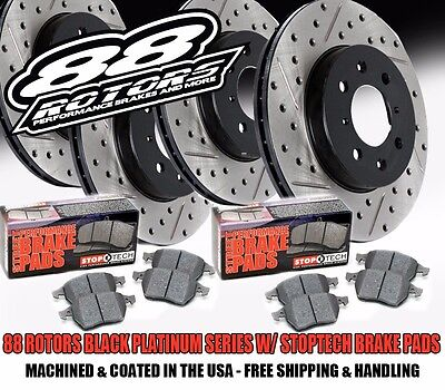 Front + Rear Drilled & Slotted Black Platinum Rotors & Stoptech Brake Pads MK3