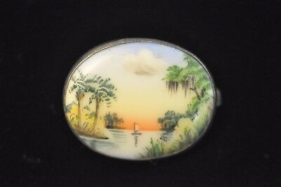 Vintage Art Deco Sterling Silver Tropical Scenic Painted Porcelain Pin Brooch