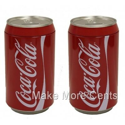 Coke Coca-Cola Soda Can Piggy Coin Bank Pack of 2 - FREE SHIPPING