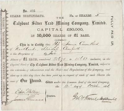1876 Talybont Silver Lead Mining Company 2 Share Certificates Silver Mine Wales