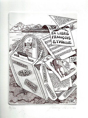 Yvonne de Vries Musik Exlibris Music Travel Orig. sign. etching Bookplate c3
