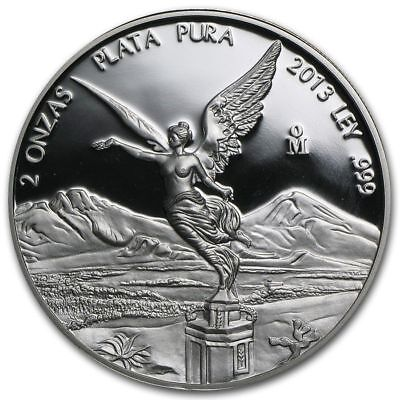 2013 Mexico 2 oz Silver Libertad Proof in Original Mint Capsule - Mintage 1300