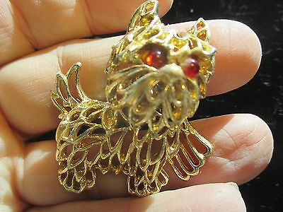 Vintage Gold Tone Bichon Frise Dog Pin with Red Jeweled Eyes and Movable Head