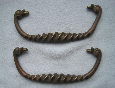 Vintage Set of 2 Brass Twisted Drawer Scroll Handle Pulls
