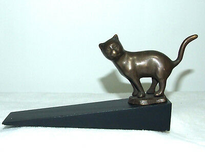 "Solid Brass ""standing Kitty Kat"" With Wooden Base Door Stop ~ New"