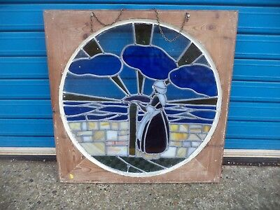 Vintage 68 cm Oak Framed Stained Glass Leaded Window - Figure Looking Out To Sea