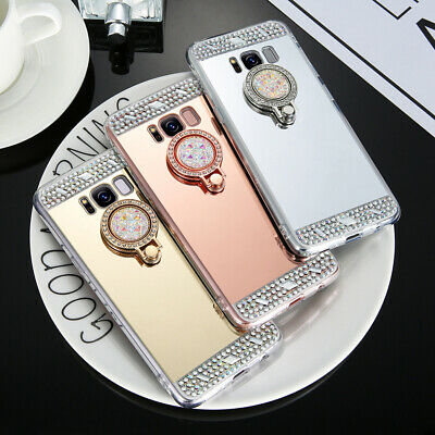 Luxury Bling Diamond Mirror Ring Stand TPU Case Cover For Samsung Note 9 S8+ S9