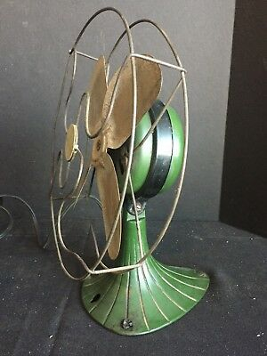 Antique Vintage Sterling Electric Fan with Metal Blades and Green Cast Iron Base