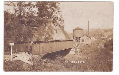 """RPPC 1908 View of """"New York Central RR"""" Bridge and Water Tank at BERGHOLTZ, OHIO"""