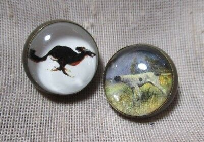 """VINTAGE unusual 2 OLD BRASS HANDMADE? BUTTONS w 2 DOG PICTURES """"UNDER GLASS"""""""