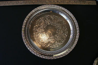 Wm Rogers & Son Silver Plate Spring Flower pattern 12in Serving Tray #2070