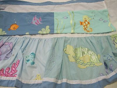 Kidsline  Oceana   Valance  Or  Crib Skirt  Very Gently Used Fish Seahorse Ray