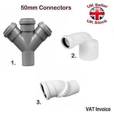 Push Fit Waste Plumbing Pipe Size 50 mm Various Connectors Fittings