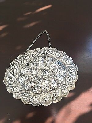 Vintage 900 silver Turkish handcrafted oval wedding mirror with chain.