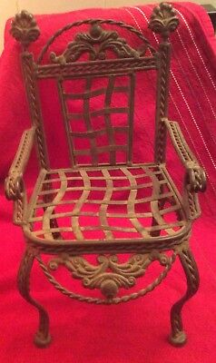 Wrought Iron Ornate Elaborate Doll Chair Vintage