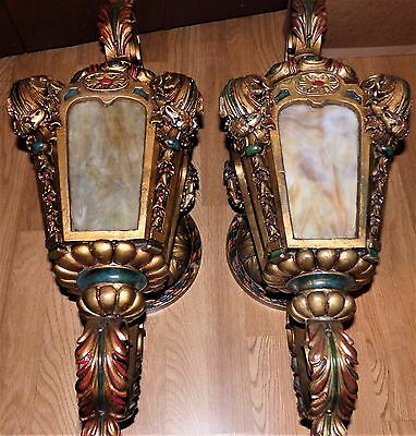Monumental VTG 1920s Art Deco Gilt Polychrome Slag Glass Theater Wall Sconces