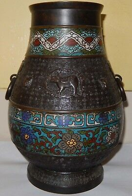 Huge Antique Japanese Archaic Bronze & Cloisonne Enamel Vase; Late Meiji c1910