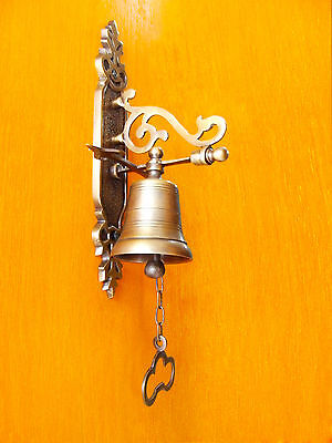 8 inches Tall Antique Vintage Solid Brass Front Door Bell GREAT SOUND
