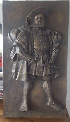 Vintage Carved Wooden Plaque/Panel with King Henry VIII