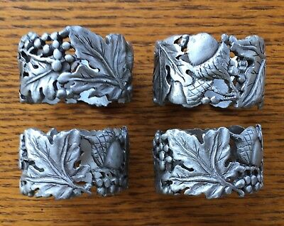 Longaberger Pewter Falling Leaves Napkin Rings - Set Of 4