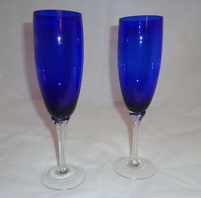 Pair Hand Blown Cobalt Blue and Clear  Stems Champagne Flutes