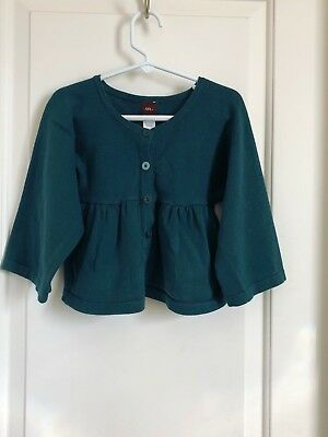 Tea Collection girls 6 dark teal green button up cardigan