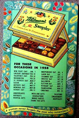 1958 Colored Celluloid Advertising Pocket Calendar Whitman Chocolate Samplet