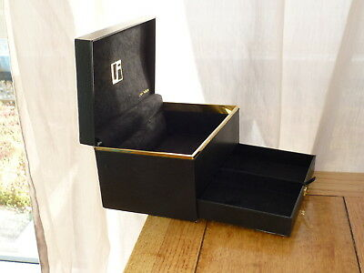 Linda Farrow Designer Black & Gold Faux Leather Jewellery Storage Box  With Draw