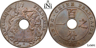 iNi  French Indo-China, 1 CENT, 1909, Rare year, UNC
