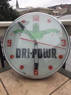 Vintage Original Dri Powr Power Glass PAM Clock Genie Motor Oil