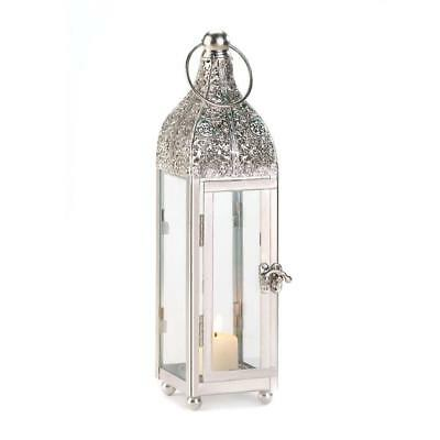 Antique Silver Ornate Candle Lantern
