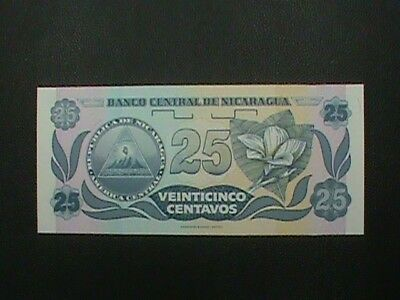 NICARAGUA  25 Centavos 1991 # 170   UNCIRCULATED  =  extra  notes  ship  FREE !
