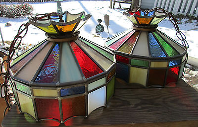 2 Vintage Stained Glass Ceiling Light Fixtures Leaded Glass Textured Panels