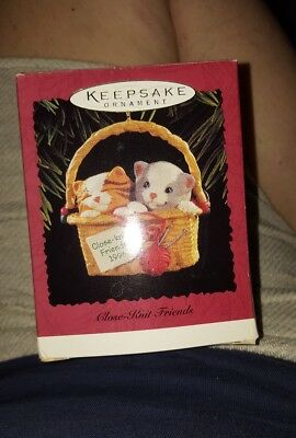 Close Knit Friends - Two Kittens in Sew Basket - 1996 Hallmark Keepsake Ornament