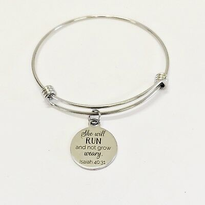 Scripture Jewelry Gifts, She Will Run And Not Grow Weary Bracelet, Isaiah Bible