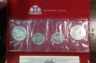 Haiti- 1973 4 Coin Sterling Silver Proof Set Orig Holder w/ docs 25 & 50 Gourdes