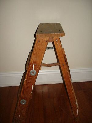Vintage Rustic Primitive Wooden Step Ladder Country Farm Barn Home Decor