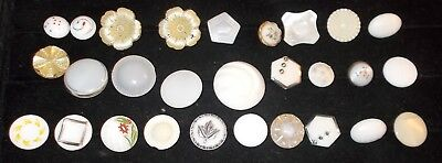 Vintage lot of 28 White Glass / Milk Glass Special Buttons, Gilt, painted shaped
