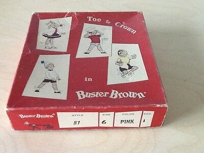 Vintage Buster Brown Toe to Crown Sock Box Adorable Graphics Red White Children
