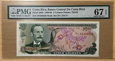 1968-92 Costa Rica 5 Colones PMG 67 EPQ Pick #236b  (1c Start with NO RESERVE!!)