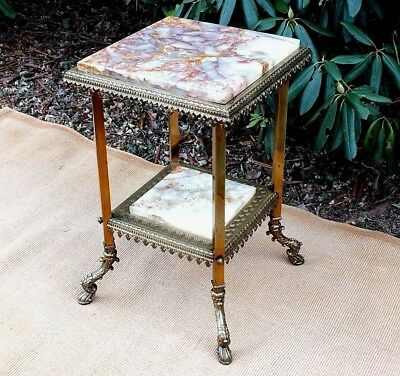 Late 1800s Antique Victorian Brass Table with Onyx Top and Tier