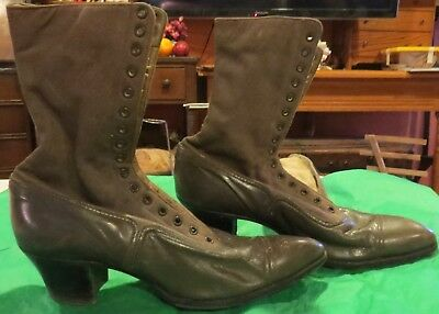 Antique Victorian Signed Girl Military Ladies Leather Boots, 9 3/4 x 2 3/4""