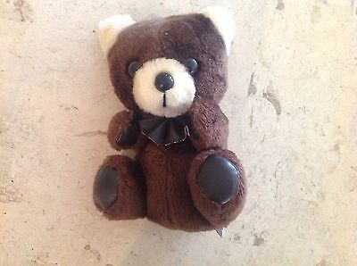 "Vintage 8"" Mary Meyer Stuffed Plush Brown Bear With Bow Tie"
