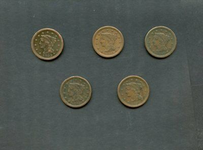 (5) Different U.S. Copper Large Cents 1c Lot-1850,1851,1853,1854,1855 F-VF